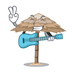 with guitar beach shelter under the umbrella vector image