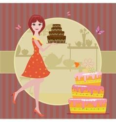 Woman cake vector