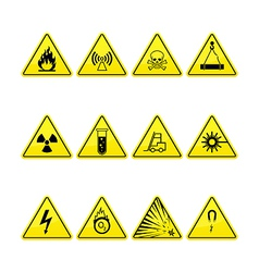 Yellow warning and danger icons collection vector image