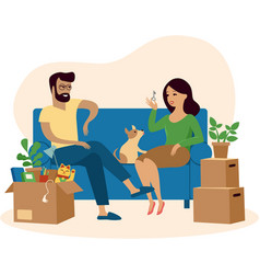 Young beautiful couple moving to new home vector