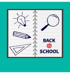 Notebook spiral blank lined paper Magnifer pencil vector image