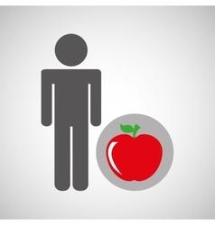 silhouette man apple nutrition healthy vector image