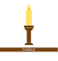 candlestick with candle isolated vector image