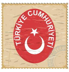 Coat of arms of Turkey on the old postage stamp vector image vector image
