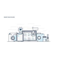 flat line design header - smart healthcare vector image