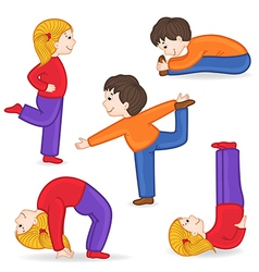set of isolated children doing exercises yoga vector image