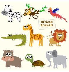 Set of jungle animals Cute cartoon African animals vector image
