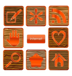 web wood sign set isolated vector image