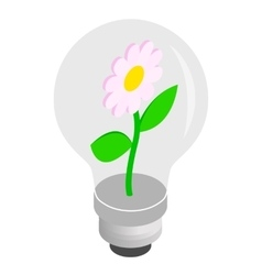 Bulb light with flower inside icon vector image