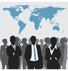 Business meeting with world map vector image vector image