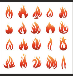 flat fire icons vector image vector image