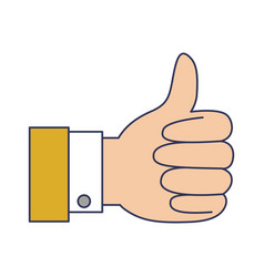 hand thumb up icon in colorful silhouette vector image vector image