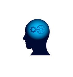 Head with cog wheel in brain brainstorm thinking vector