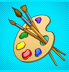palette with paints and brushes pop art vector image