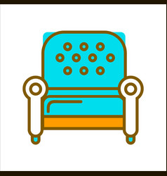 stylish armchair with blue leather upholstery on vector image vector image