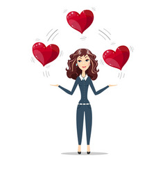 Woman holding hearts vector