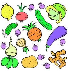 doodle fresh vegetable art vector image vector image
