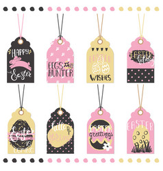 set of easter hand drawn lettering tags vector image vector image