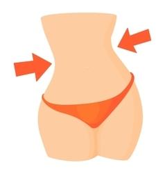 Slim female waist icon cartoon style vector image