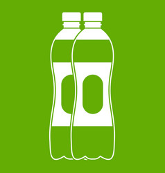 two plastic bottles icon green vector image