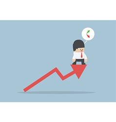 Up or down Businessman confusing about stock mark vector image vector image