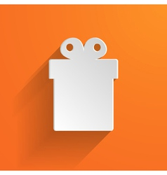 white gift box on the orange background vector image vector image