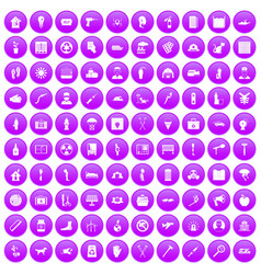 100 help icons set purple vector