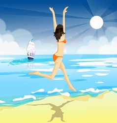 a girl in a bathing suit vector image