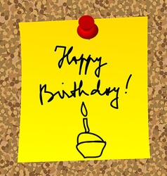 A paper note with message happy birthday vector