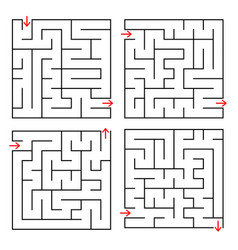 abstract square isolated labyrinth black color on vector image