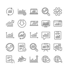 analysis line icons charts reports and graphs vector image