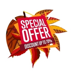 Autumn sale banner Discount template vector image