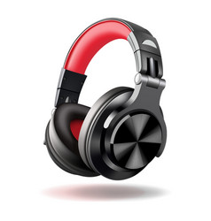 Black and red headphones isolated on white vector