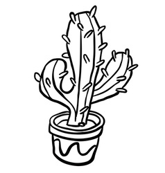 black and white cactus in a pot vector image vector image