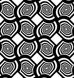 Black and white striped twisted grid with offset vector