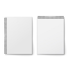 Blank closed realistic spiral notepad mockup vector