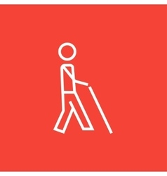 Blind man with stick line icon vector image