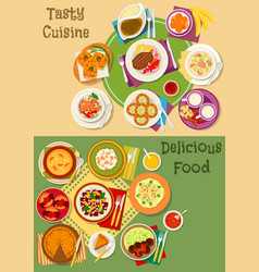british thai and finnish cuisine icon set design vector image
