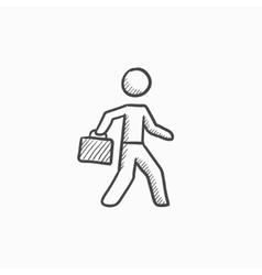 Businessman walking with briefcase sketch icon vector image