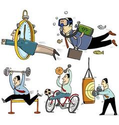 Businessmen making sport vector