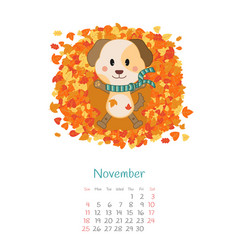Calendar 2018 months november with dog vector
