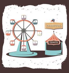 Carnival panoramic wheel icon vector