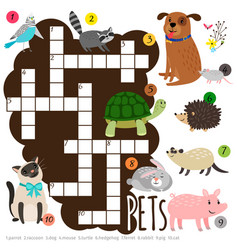 cartoon character pets kids crossword vector image