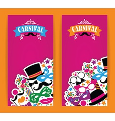 Celebration festive flyer with carnival icons and vector image