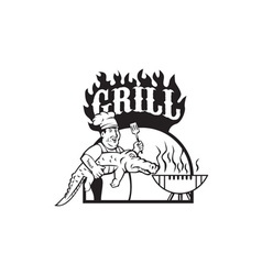 Chef Carry Alligator Grill Cartoon vector image