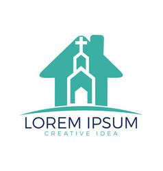 church building logo design vector image