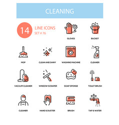 cleaning service - line design style icons set vector image