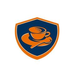 Coffee cup teaspoon crest retro vector