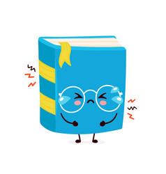 Cute cry sad book flat vector