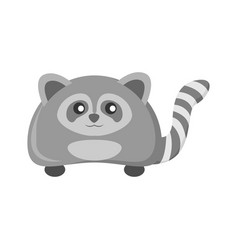 Cute grey raccoon animal vector